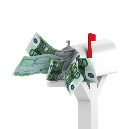 Euro to mailbox - money concept Stock Photo