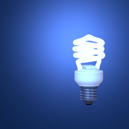 energy efficiency: Energy Saving Lamp and blue background