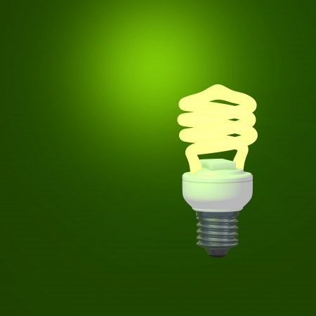 Energy Saving Lamp and green background photo
