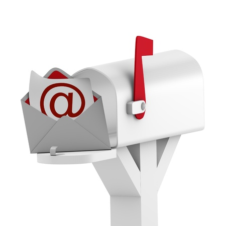 Mailbox with envelope message Stock Photo