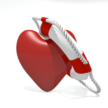 Heart and life buoy and white background Stock Photo - 16332322