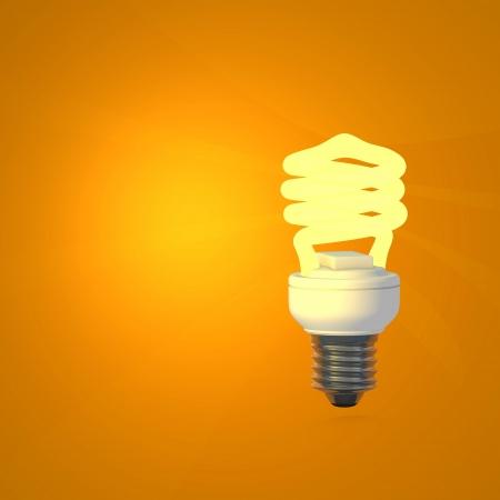 Energy Saving Lamp and orange background