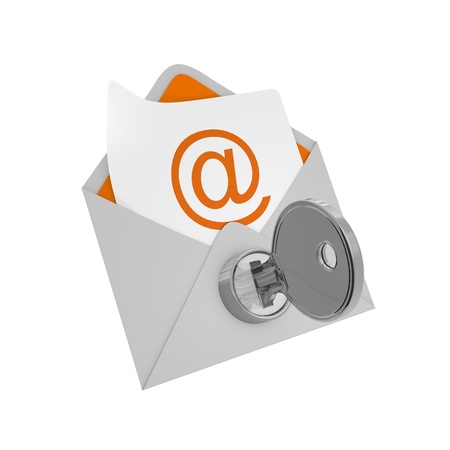 Envelope mail with key - security concept Stock Photo - 19130312