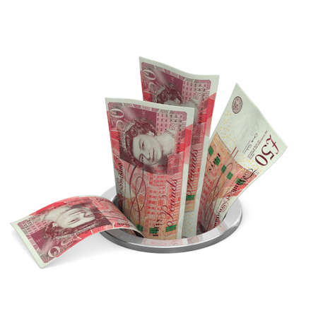 pounds: UK pounds to drain Stock Photo