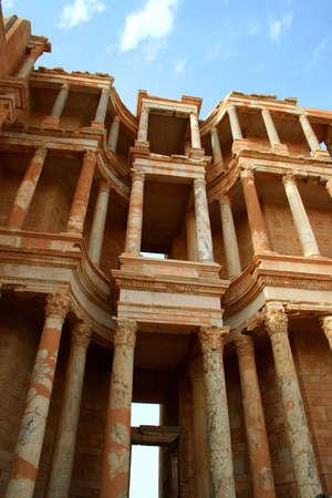teatro antico: Antico teatro di Sabratha, Libia, nel tardo pomeriggio  Archivio Fotografico