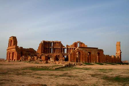 Ancient theatre of Sabratha, Libya, at late afternoon Stock Photo