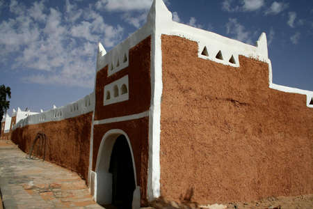 building of unesco protected ancient berber city of ghadames - libya