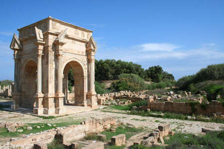 Triumphal Arch to commemorate Septimus Severis at the roman ruins of Leptis Magna in Libya