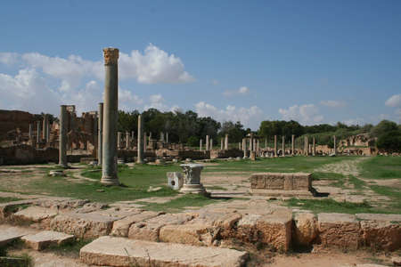 the ruins of ancient roman leptis magna in libya