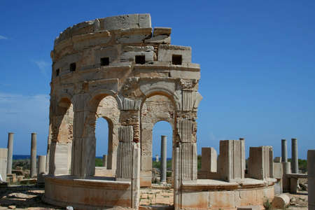 Leptis Magna. Market. One from two tholoi (or kiosk) surrounded by porticoes