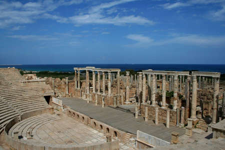 The ruins of ancient roman theatre in Leptis Magna in Libya