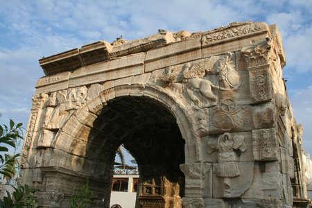 libya: roman arch in tripolis, capitol of libya