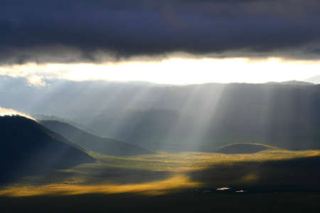 observations: view at ngorongoro crater in tanzania, africa, at early morning