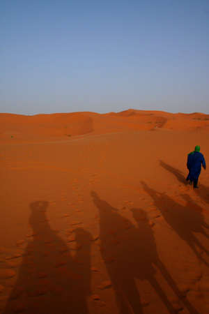 shadows of carawane in Sand dunes of Erg Chebbi in the Sahara Desert, Morocco photo