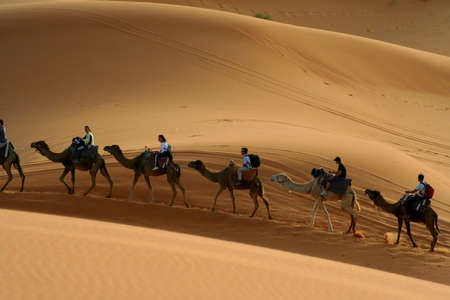 kaeawane in Sand dunes of Erg Chebbi in the Sahara Desert, Morocco