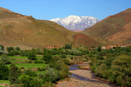 A view from the High Atlas, Road Tizi-n-Tichka between Marrakech and Ouarzazate (Morocco)  Stock Photo