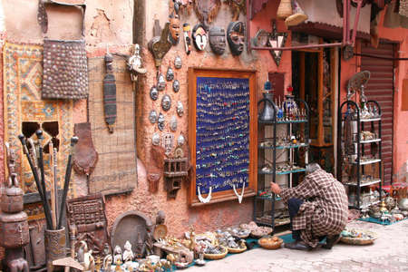 morocco: typical scenery of streets of marrakech