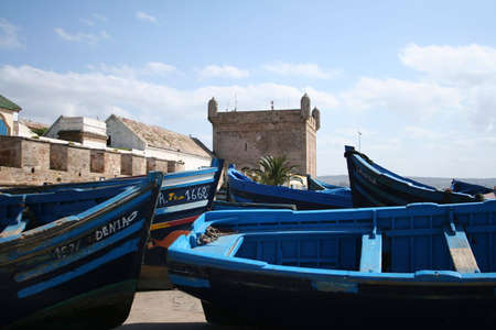 View at the fishing boats from port in Essaouira Stock Photo