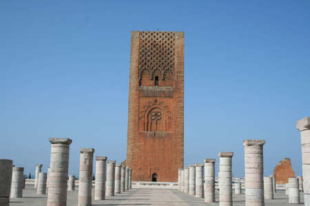 mausoleum: Morocco,Rabat. The Hassan Tower opposite the Mausoleum of King Mohamed V.