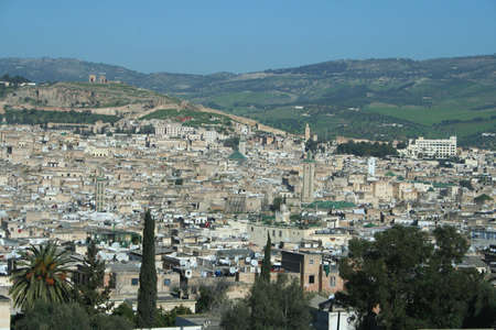 Panoramic shot of the city of Fes in Morocco
