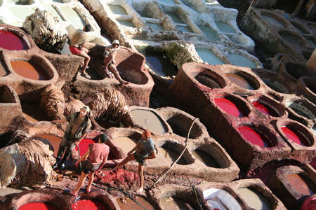 Leather tanning in Fes, Morocco Stock Photo