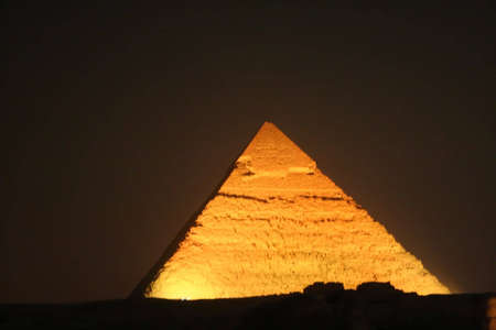 pyramids of giza at night  Stock Photo