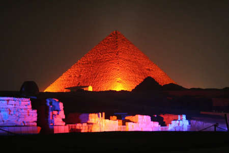 pyramids of giza at night  Stock Photo