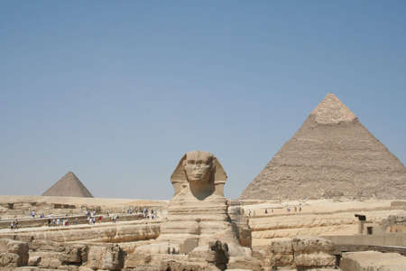 The Sphynx in front of pyramid in gaza (Gizeh) photo