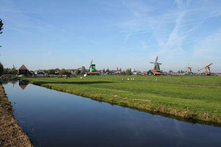 zaanse: landschap op ZAANSE-SCHANS in holland