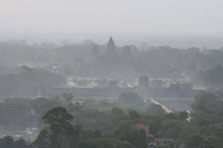 areal view at Angkor Wat in Cambodia at early morning photo