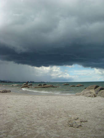 a cloudy day at paradise beach in Thailand photo