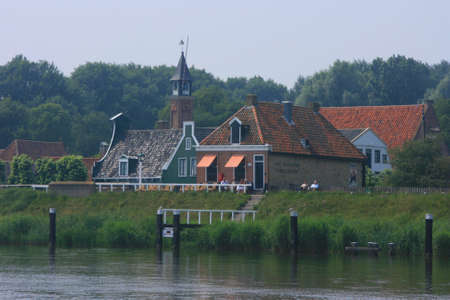 hoorn: beautiful scenery at heritage museum of enkhuizen in north of holland