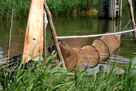 fishingnet: beautiful scenery at heritage museum of enkhuizen in north of holland