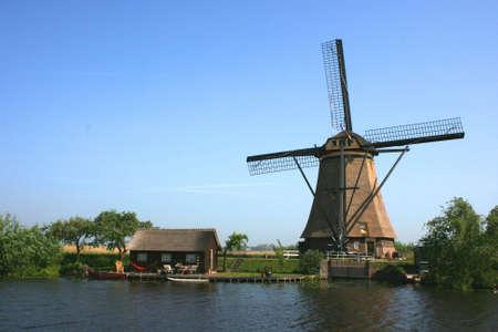 wind mills of kinderdijk in holland