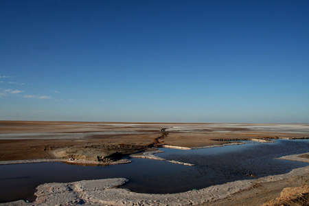 Chott el Djerid (biggest saltdesert in north africa) Tunisia Stock Photo