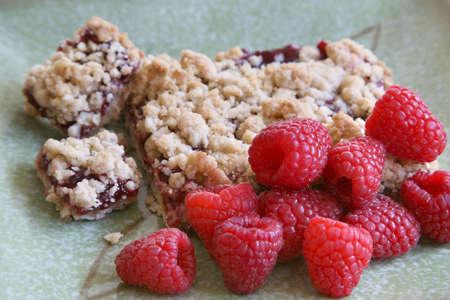 crumb: Raspberry crumb cake with fresh raspberrys