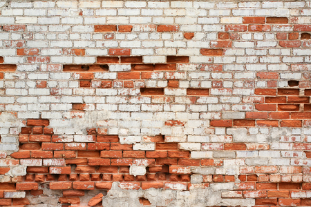 textured wall: Red brick wall decay exterior outdoors background Stock Photo