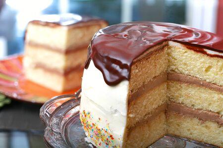 ganache: White layer cake with chocolate filling and chocolate ganache plus sprinkles with white icing Stock Photo
