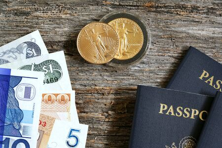 international crisis: Grouping of travel related passports gold coins and international paper currency