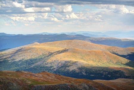 evans: Scenic mountains range view from Mt. Evans at the summit in Colorado