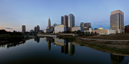 Scioto River and Columbus Ohio skyline at John W. Galbreath Bicentennial Park at dusk