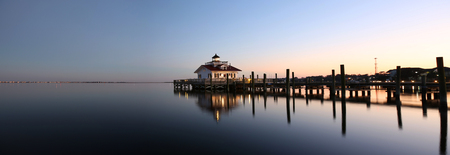 nags: Roanoke Marshes Lighthouse Manteo NC Outer Banks North Carolina dock in Albemarle Sound Stock Photo