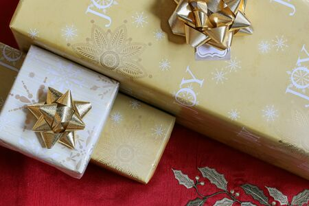 colorfully: Plenty of colorfully wrapped presents collected together Stock Photo