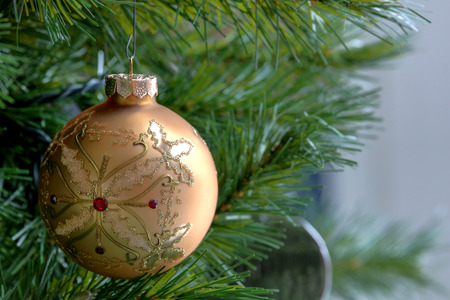 Close up of golden Christmas glass bauble Stock Photo