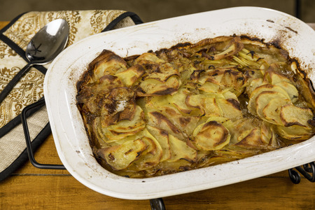 Potato casserole with bacon and caramelized onion Stock fotó