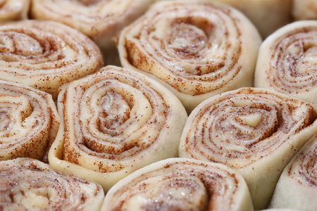 Unbaked cinnamon rolls Stock Photo