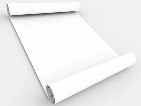 White paper scroll on white background
