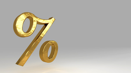 Percent golden sign. Realistic 3d rendering Stock fotó - 121068736