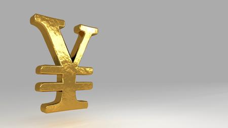 Yuan golden sign. Realistic 3d rendering 스톡 콘텐츠