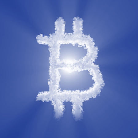 Bitcoin cloud sign with volume light on blue sky and sun. 3d illustration